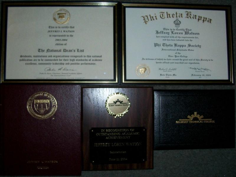 Jeff's Certificates & Awards - jeff-watson.com